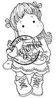 Magnolia - Cling Mounted Rubber Stamp - Tilda with Christmas Hearts