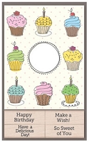Hero Arts - Wood Mounted Rubber Stamp Card Kit - Cupcake Cards with Messages