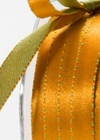 May Arts - 3/8 inch Reversible Satin - Orange/Olive (1 yard)