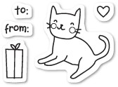 Poppy Stamps - Clear Stamp - Kitty Cat Gift Clear Stamp Set