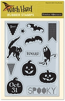October Afternoon - Witch Hazel Collection - Rubber Cling Stamp - Bats 'n Banners