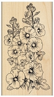 Penny Black - Wood Mounted Stamp - Hollyhocks