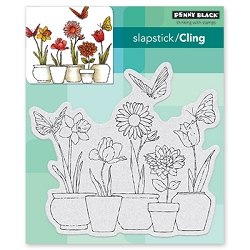 Penny Black - Slapstick Cling Stamp - Potted Flowers