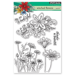 Penny Black - Clear Stamp - Stitched Flowers