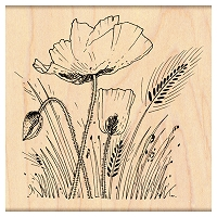 Penny Black Wood Stamp - Field of Poppies