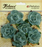 Petaloo - Canvas Garden Rosettes - Antique Blue (6 pcs)