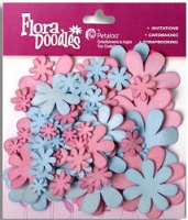 Petaloo - Fancy Foam Flowers - Blue/Pink