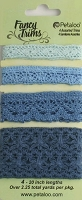 Petaloo - Crochet Lace Fancy Trim - 2.25 yards - Blues