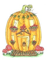 Pink Ink - Wood Mounted Rubber Stamp - Pumpkin Fairy House