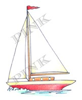 Pink Ink - Wood Mounted Rubber Stamp - Classic Sailboat