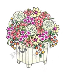 Pink Ink - Wood Mounted Rubber Stamp - Summer Planter