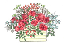 Pink Ink - Wood Mounted Rubber Stamp - Hawthorne & Roses