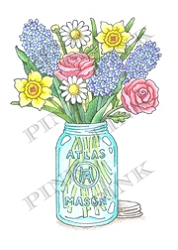Pink Ink - Wood Mounted Rubber Stamp - Spring in a Jar