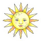 Pink Ink - Wood Mounted Rubber Stamp - Sunny Face