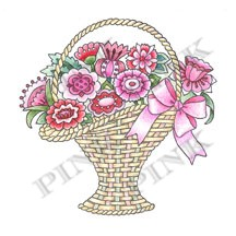 Pink Ink - Wood Mounted Rubber Stamp - May Basket