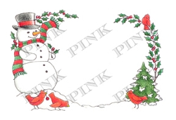 Pink Ink - Wood Mounted Rubber Stamp - Snowy Frame
