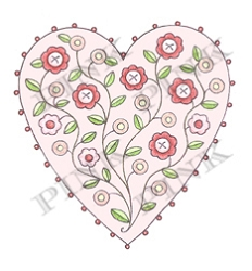 Pink Ink - Wood Mounted Rubber Stamp - Button Heart