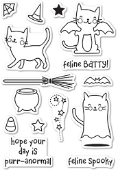 Poppy Stamps - Clear Stamp Set - Feline Spooky clear stamp set
