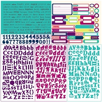 Prima - Leeza Gibbons - Wishes & Dreams - Wishful Thinking 12x12 Sticker Sheet - Type and Tabs