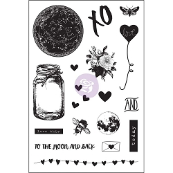Prima - Love Clippings Collection - 4x6 Cling Stamp set