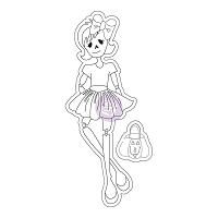 Prima - Cling Mounted Rubber Stamp - Mixed Media Doll by Julie Nutting - Skelly