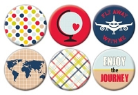 Queen & Co. - Flair Tin Badge Stickers - Travel