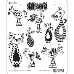 Stamper's Anonymous/Ranger - Dylusions Cling Stamps - Cat Among Pigeons