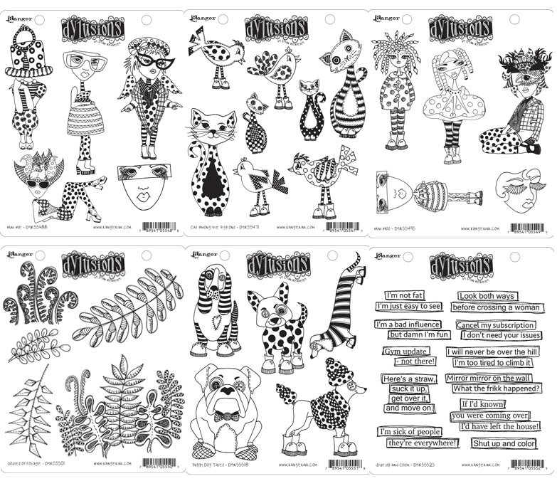 Dylusions Cling Stamps - 6 new sets