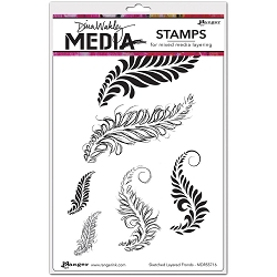 Stamper's Anonymous/Ranger - Dina Wakley Media - Cling Mounted Rubber Stamp Set - Sketched Layered Fronds