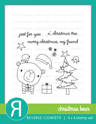 Reverse Confetti - Clear Stamps - Christmas Bear