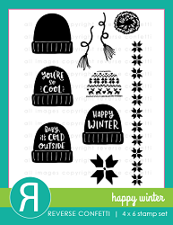 Reverse Confetti - Clear Stamps - Happy Winter