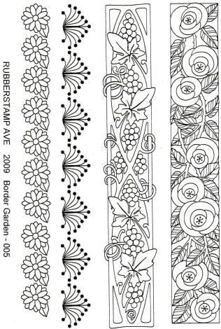 Rubber stamp avenue clear stamp border garden - Dibujos de cenefas para pintar ...