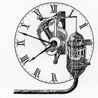 Rubber Stamp Avenue - Cling Stamp - Futuristic Clock