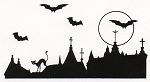 Rubber Stamp Avenue-Cling Stamp-Bats over Buildings