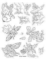 Designs by Ryn - Unmounted Rubber Stamp Sheet - Faeries (8.5