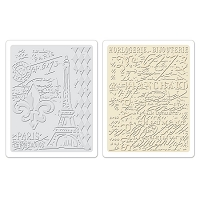 Sizzix - Textured Fades Embossing Folder by Tim Holtz - 2 Pack - Eiffel Tower & French Script Set