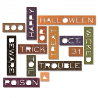 Sizzix - Thinlits Die Set by Tim Holtz - Halloween Words