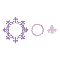 Sizzix Framelits - Circle Frame with Fleur de Lis edging (by Rachael Bright) set of 3 dies