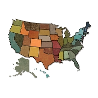 Sizzix - Thinlits Dies by Tim Holtz - 3PK United States Map