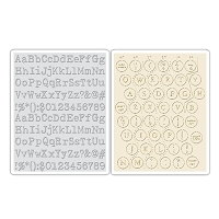 Sizzix - Texture Fades Embossing Folder (2pk) by Tim Holtz - Typewriter & Keyboard Set