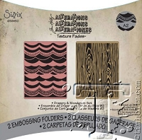 Sizzix Texture Fades Embossing Folder by Tim Holtz - 2 Pack - Drapery & Woodgrain Set
