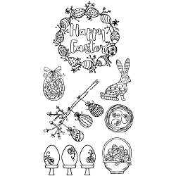 Sizzix - Clear Stamps by Jen Long - Eggstatic Easter