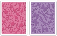 Sizzix - Textured Impressions Embossing Folders 2 PK - Swirls, Butterflies, & Dragonflies Set by Scrappy Cat