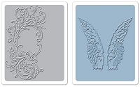 Sizzix Texture Fades Embossing Folders 2PK - Flourish & Wings Set by Tim Holtz