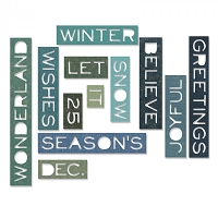 Sizzix - Thinlits Die Set by Tim Holtz - Holiday Words Thin