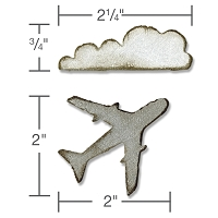 Sizzix - Movers & Shapers by Tim Holtz - Magnetic Die Set - 2PK Mini Airplane & Cloud