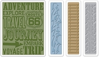 Sizzix - Textured Fades Embossing Folder by Tim Holtz - 4 Pack - Travel Signs