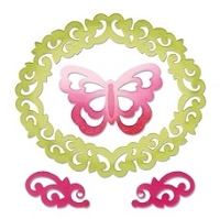 Sizzix Thinlits - Die Set - by Rachael Bright - 4 Pack - Butterfly, Flourishes, & Frame