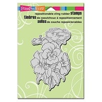 Stampendous - Cling Mounted Rubber Stamp - Pansy Spray