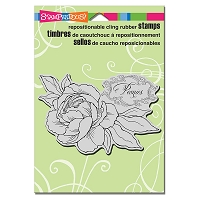 Stampendous - Cling Mounted Rubber Stamp - Peony Spray